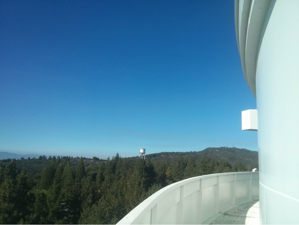 View from the outside walk around the 200-inch telescope at Palomar Observatory.